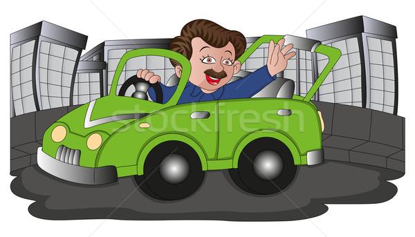 Foto stock: Vetor · homem · condução · carro · feliz
