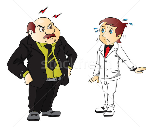 Vector of angry boss scolding employee. Stock photo © Morphart
