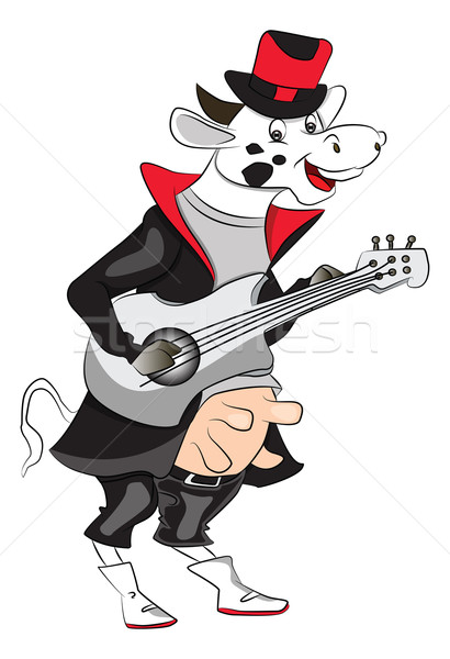 Vector of cow playing guitar. Stock photo © Morphart
