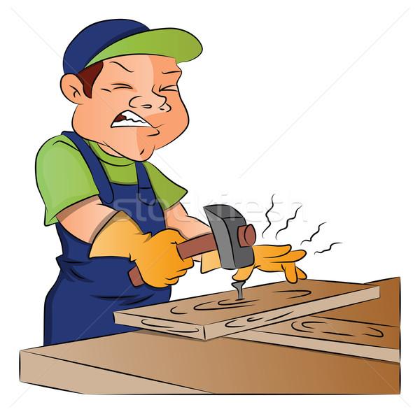 Vector of carpenter nailing nail into wooden plank. Stock photo © Morphart