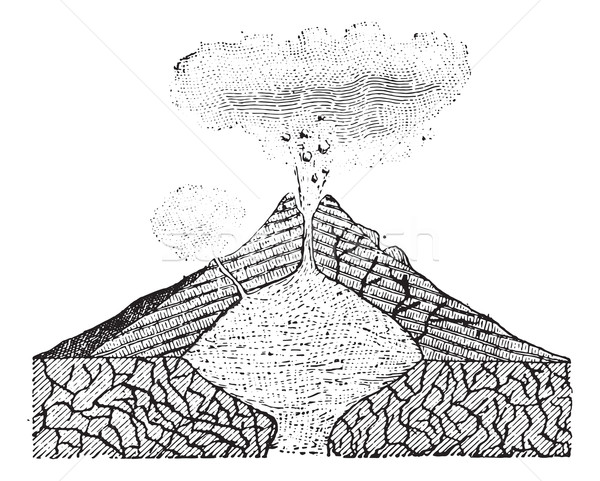 Volcano, vintage engraving. Stock photo © Morphart