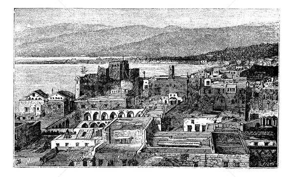 Város Libanon klasszikus vésés öreg gravírozott Stock fotó © Morphart
