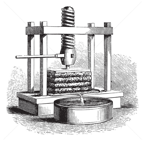 Cider Press vintage engraving Stock photo © Morphart