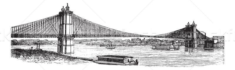 Puente colgante Ohio Kentucky EUA vintage Foto stock © Morphart