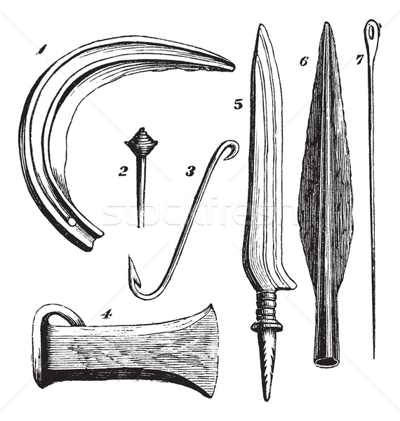 Bronze instruments from Unter Uhldingen, vintage engraving Stock photo © Morphart