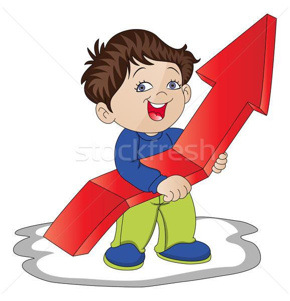 Vector of boy holding upward arrow sign. Stock photo © Morphart