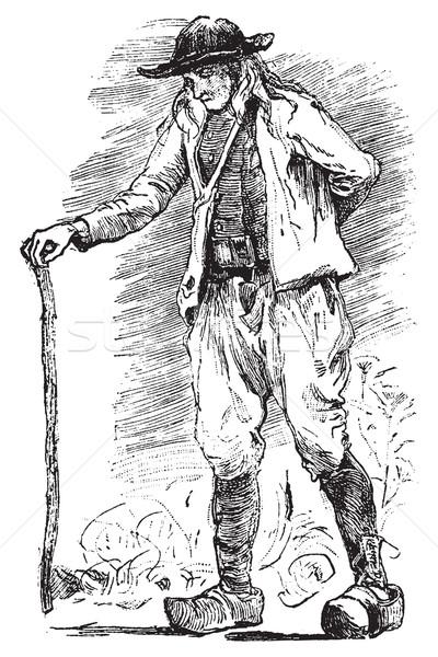 Breton Beggar, vintage engraving. Stock photo © Morphart