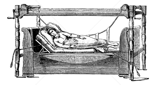 Sleep device disease on the right side, vintage engraving. Stock photo © Morphart