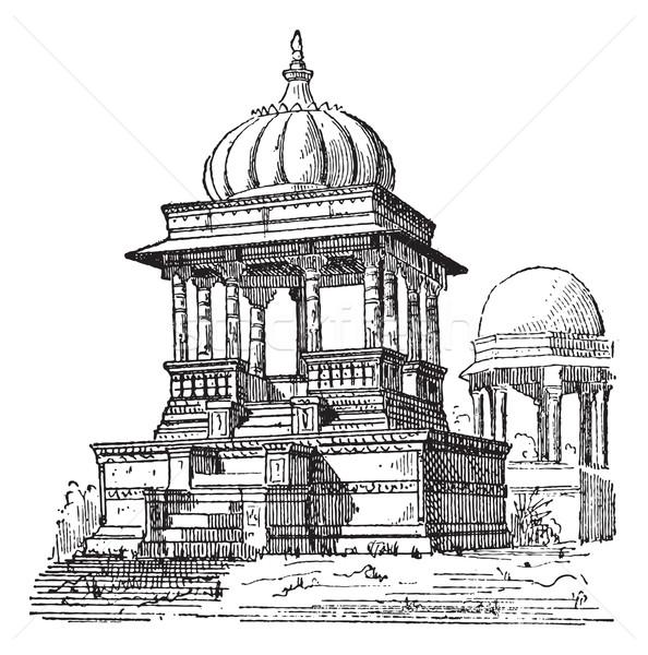 Indian tomb, vintage engraving. Stock photo © Morphart