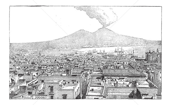 City of Naples, in Campania, Italy, vintage engraving Stock photo © Morphart