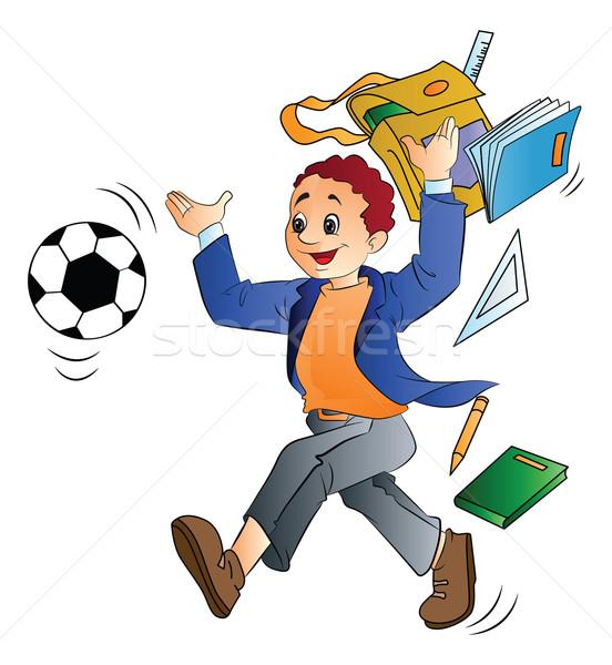 Man Throwing School Things, illustration Stock photo © Morphart