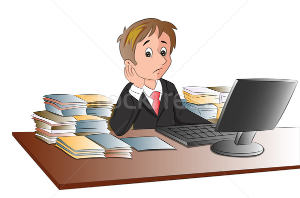Vector of unhappy businessman's desk invaded with documents. Stock photo © Morphart