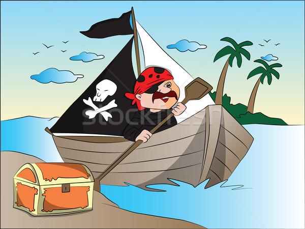 Vector piraten boot schatkist rivieroever boom Stockfoto © Morphart