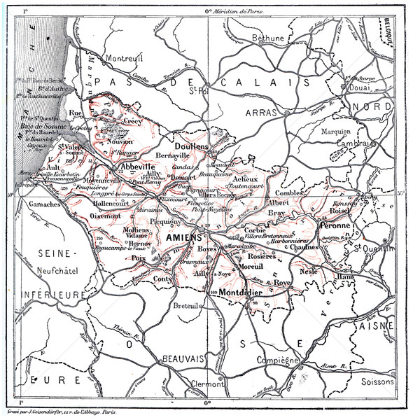 Map of Department of Somme vintage engraving Stock photo © Morphart