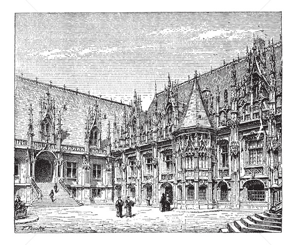 Stock photo: Courthouse of Rouen, France, vintage engraving.