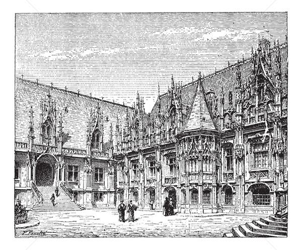 Courthouse of Rouen, France, vintage engraving. Stock photo © Morphart