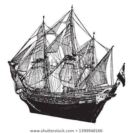 Foto stock: Francés · buque · vintage · acorazado · grabado