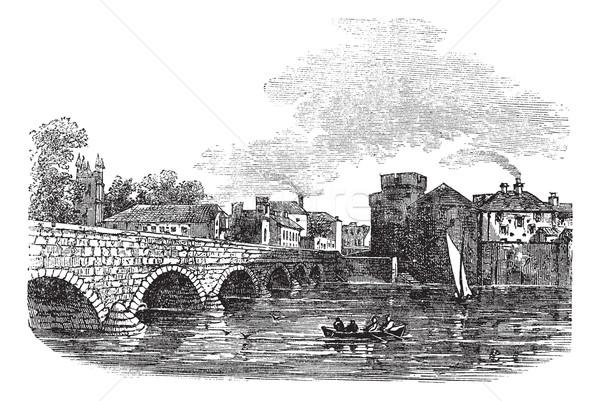 Thomond Bridge and King John's Castle, Limerick, Ireland vintage Stock photo © Morphart