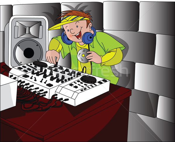 ベクトル 幸せ 演奏 音楽 着用 ヘッドホン ストックフォト © Morphart