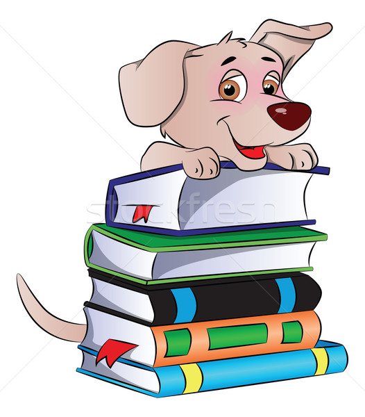 Сток-фото: вектора · собака · книгах · умный · Cute