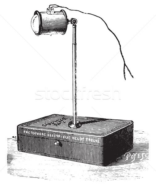 Elektrische licht tabel vintage gegraveerd Stockfoto © Morphart