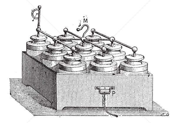 Electric Battery made up of Leyden Jars, vintage engraving Stock photo © Morphart