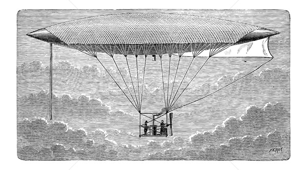 Aerostat, vintage engraving Stock photo © Morphart