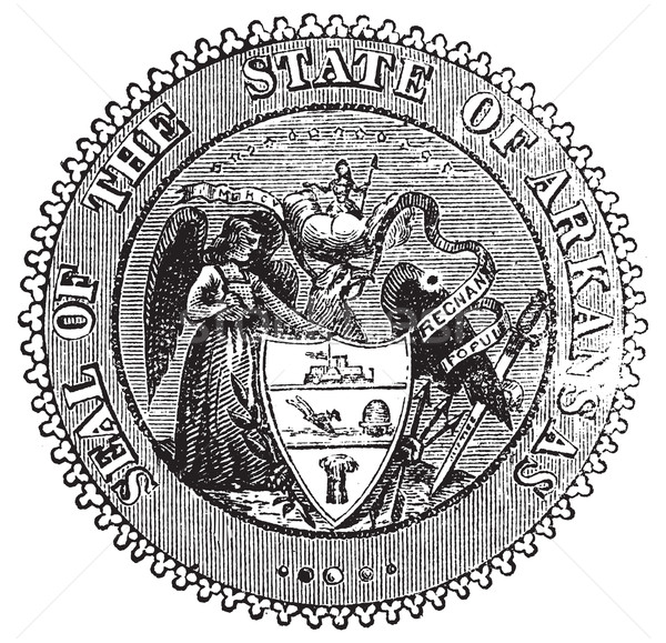 Seal of Arkansas prior to 1907 old engraving. Stock photo © Morphart