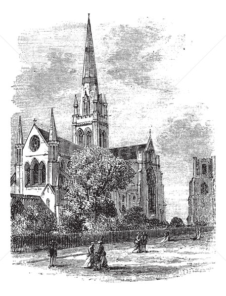 Chichester Cathedral vintage engraving in the 1890s Stock photo © Morphart