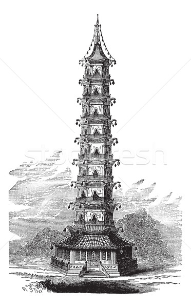 Porcelain Tower of Nanjing, in China, vintage engraved illustrat Stock photo © Morphart