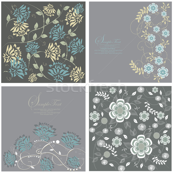 Four gray cards with floral background Stock photo © Morphart