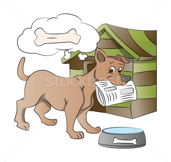 Köpek gazete örnek düşünme kemik Stok fotoğraf © Morphart