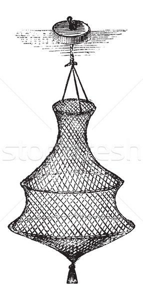 Fishing Basket or Bag, vintage engraving Stock photo © Morphart