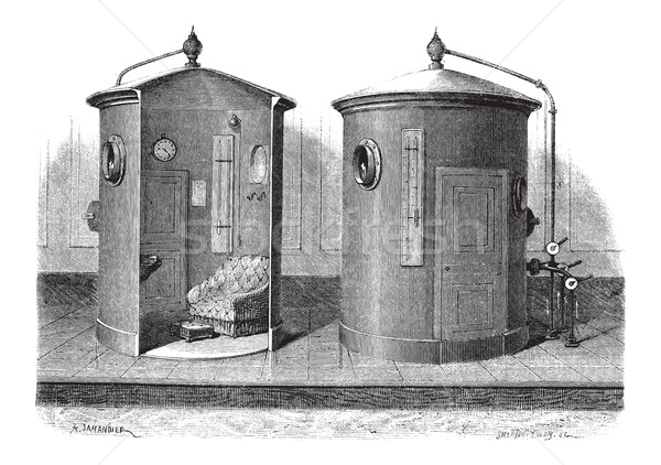Pneumatic device for compressed air baths, vintage engraving Stock photo © Morphart