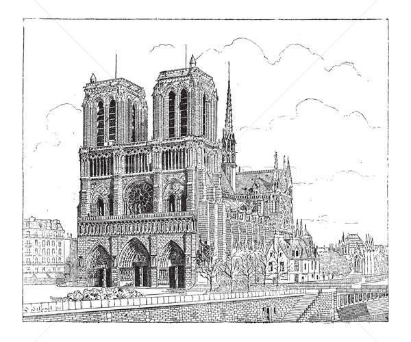 Notre Dame de Paris, in Paris, France, vintage engraving Stock photo © Morphart