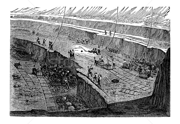 Open-pit Mining, vintage engraving Stock photo © Morphart