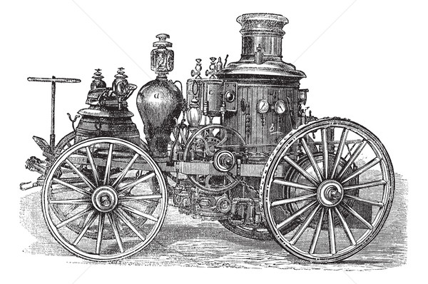Amoskeag Steam-powered Fire Engine vintage engraving Stock photo © Morphart