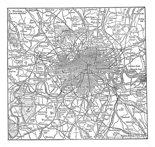 London and its environs vintage engraving Stock photo © Morphart