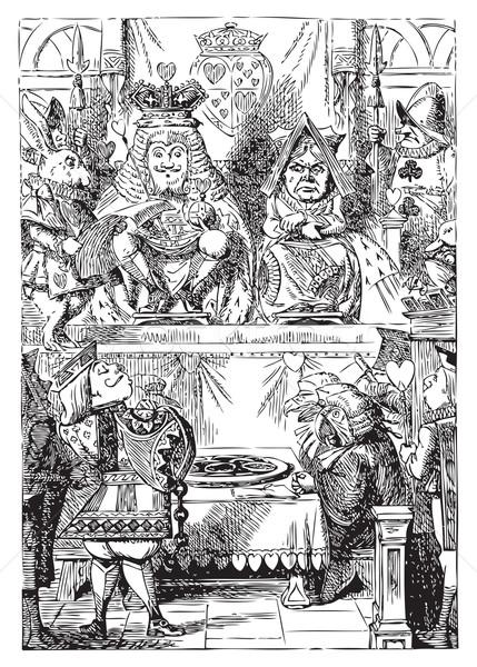 царя королева страна чудес пластина утверждение сердцах Сток-фото © Morphart