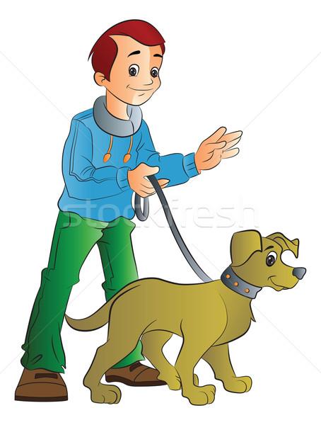 Man Walking a Dog, illustration Stock photo © Morphart