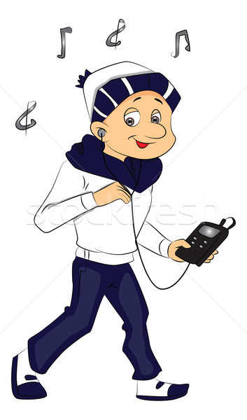Vektor fiú zenét hallgat mp3 lejátszó vidám fiú zene Stock fotó © Morphart