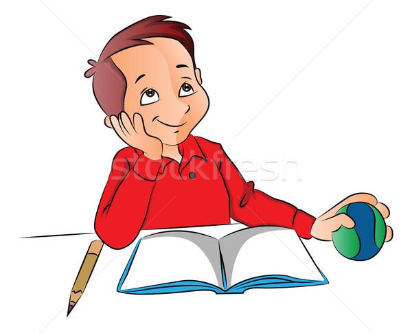 Vector jongen bal boek potlood Stockfoto © Morphart