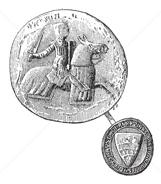 Seal against seal, Jean, Sire de Joinville died in 1317, vintage Stock photo © Morphart