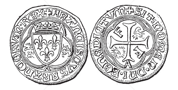 Coin Currency, Francis I of France, vintage engraving Stock photo © Morphart