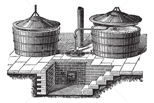 Eski çamaşır makinesi buhar basınç bağbozumu oyma Stok fotoğraf © Morphart