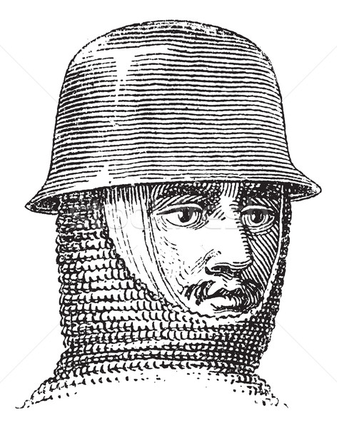 Iron hat or Kettle hat vintage engraving Stock photo © Morphart