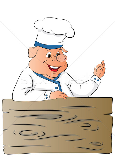 Vector of pig chef giving ok gesture. Stock photo © Morphart