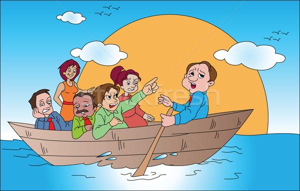 ベクトル ビジネスチーム ボート 旅行 女性 海 ストックフォト © Morphart
