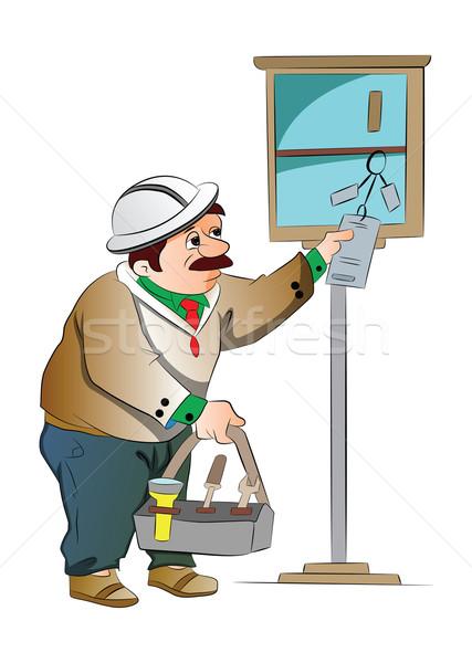 Karbantartás fickó illusztráció dolgozik szolgáltatás fehér Stock fotó © Morphart