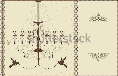 Bağbozumu avize kuşlar kahverengi sarı Stok fotoğraf © Morphart